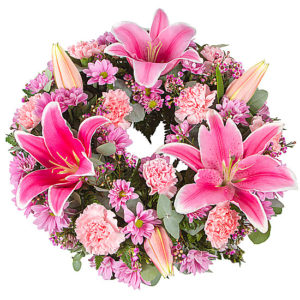 Pink Lily Wreath